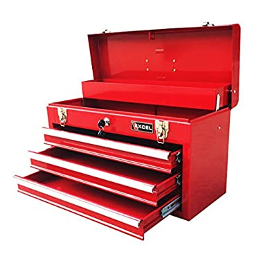 Excel TB133-Red 20.5-Inch Portable Steel Tool Box, Red
