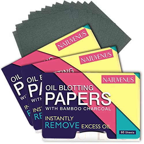 Natuvenus Oil Blotting Papers with Bamboo Charcoal, 100% Natural Removing and Absorbing Excess Shine...