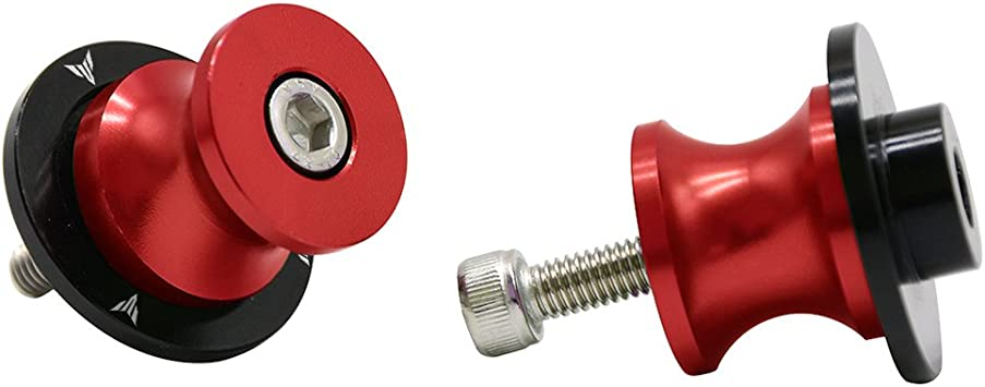 2pcs 10MM M10 X1.5 Motorcycle Swing arm Sliders Spools CNC Swing Arm Stand Screw Red