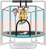 Kinder Trampolin-Kinder üben faltbare 5-ft-Innen-Trampoline mit horizontaler Bar und Ringe, runder Trampolin mit Basketball-Reifen und Gehäusenetz □ Indoor- oder Outdoor-Trappolin für Kinder, Haus / B