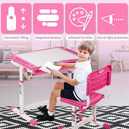 Kids Desk and Chair Set, Height Adjustable Study Table Workstation, Ergonomic Student Study Kid Table w/Tilting Desktop & Drawers Storage, Durable Double-Side Seat Back for School Students (Pink)