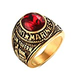 Mealguet Jewelry Stainless Steel Gold Plated Tun Taverk Red Stone United States Military Corps Rings for Men,Size 10