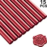 Nuanchu 15 Pieces Glue Gun Sealing Wax Sticks for Retro Vintage Wax Seal Stamp and Letter, Great for Wedding Invitations, Cards Envelopes, Snail Mails, Wine Packages, Gift Wrapping (Wine Red)