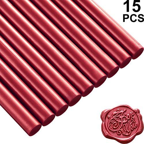15 Palillos de Cera de Sellado de Pistola de Pegamento para Sello de Lacre Retro Vintage y Carta, para Invitaciones de Boda, Sobres de Tarjetas, Caracoles, Envoltura de Vino Regalos (Rojo Vino)
