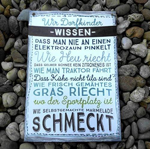 Dorfkinder Türschild Schild Holzschild Größe 297 mm x 210 mm, Weiß/Braun