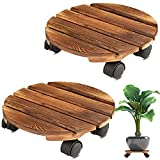 Yangbaga 2pack Plant Caddy 12''Wood Duty Round Plant Roller with 2 360° Lockable Caster Wheels,Indoor Outdoor on Roller Patio/Flower Pot/Succulent Pots