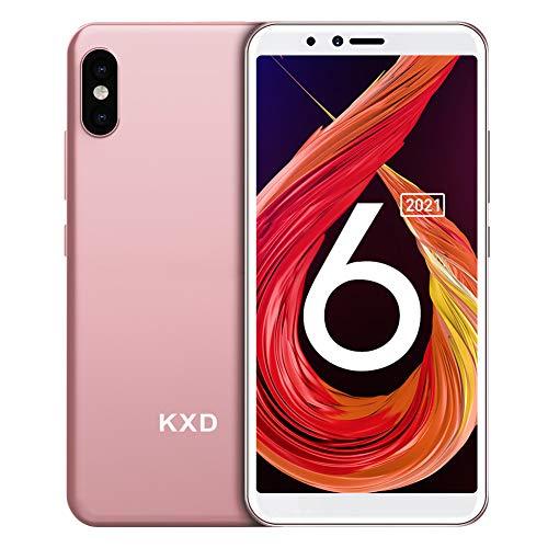 Teléfono Móvil Libre, KXD 6A smartphones baratos, 1GB RAM 8GB ROM (64GB SD) Smartphone Libre, Pantalla 5.5', 3G Android 8.1 Dual SIM, Face ID, Cámaras triples, 2500mAh/GPS/Versión Global - Rosa Gorado