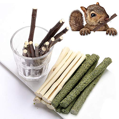 Dbeans Flourithing 3 Types of Combined Chew Toys Molar Sticks Sweet Bamboo Apple Branch Timothy Grass for Pets Chinchilla Squirrel Gerbil Hamster Squirrel Guinea Pigs (300g)