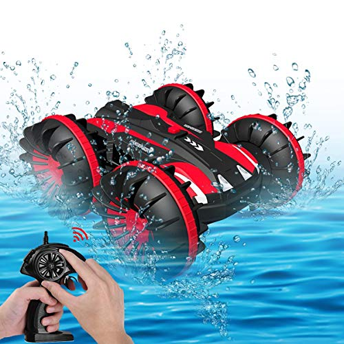 Seckton Toys for 5-10 Year Old Boys Amphibious RC Car for Kids 2.4 GHz Remote Control Boat Waterproof RC Monster Truck Stunt Car 4WD Vehicle Girls Gifts All Terrain Water Beach Pool Toy (Red)