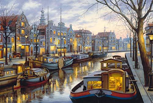 FFLFFL Puzzle 500 Piezas Rompecabezas para Adultos Rompecabezas de Madera Rompecabezas clásico 3D colección de Canales de Amsterdam decoración del hogar Moderno
