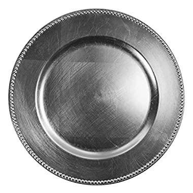 Chargeit by Jay Beaded Charger Plate - Silver - Set of 12