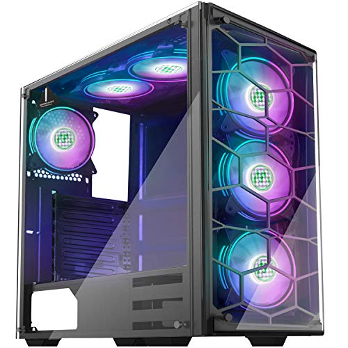 MUSETEX 2×USB3.0,6PCS 120mm RGB Fans,Phantom Black ATX Mid-Tower Chassis Gaming PC Case,2 Tempered Glass Panels Gaming Style Windows Computer Case Desktop Case