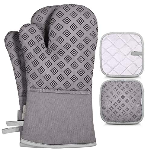 Homemaxs Oven Mitts and Pot Holders 4pcs Set, 500℉ Heat Resistant Non-Slip Food Grade Kitchen Mitten Silicone Cooking Gloves s for Kitchen, Cooking, Baking, BBQ (Gray)