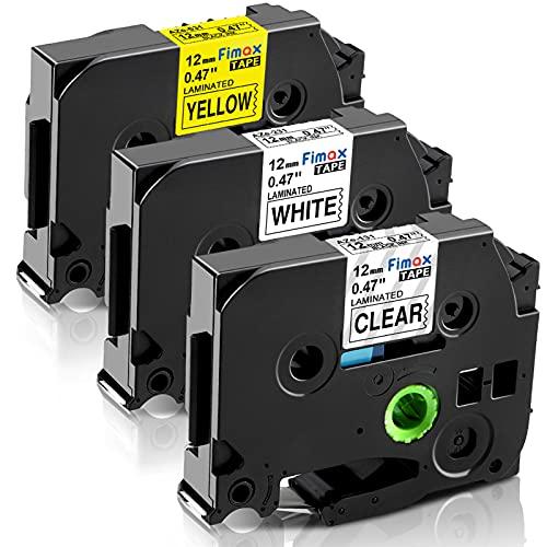 Nastro per Etichette Fimax Compatibile In sostituzione di Brother P-Touch 12mm TZe-231 TZe-131 TZe-631 Laminato per PT H105 H200 H107 H100R 1000 1010 1080 H100LB, Multicolore, 3Pz.