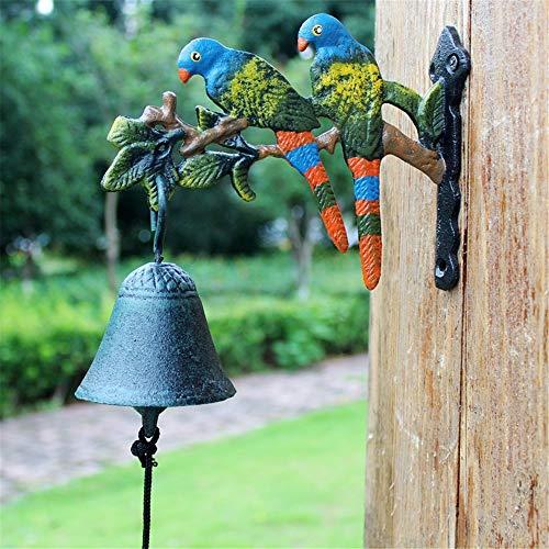 Gietijzeren deur Bell Rustieke Retro Gietijzeren Deurbel Papegaai Mooie Tuin Bell Huis muurschildering Tuin Decoratie voor Tuin Patio Villa Cafe