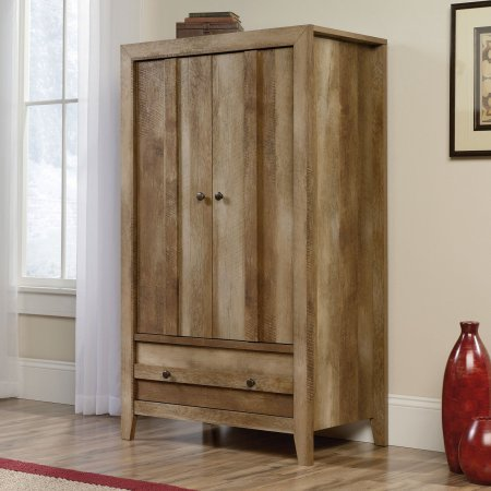 Wood Armoire Wardrobe with Garment Rod, Adjustable Shelf, Large Lower Drawer with Metal Runners, Rustic Desing, Clothes and Storage Organizer, Bedroom, Family Room, Hallway, Furniture, Brown Color