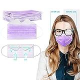 eiuEQIU 5/25 Stück Mund Schutz - Anti Nebel Mundschutz aus Baumwolle - 3-lagig face Bandana -Universal Gesichtsschutz Mund- und Nasenschutz für Erwachsene (Lila-5PC)