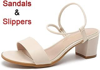 Women's Fashion Low Block Heel Open Toe Sandals Chunky Heels Slip On Slippers