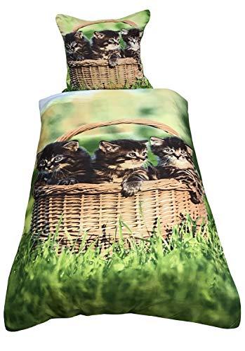Leonado Vicenti Bettwäsche 135x200 cm Katzen Wiese Grün mit Wendefunktion Bettgarnitur mit Reißverschluss