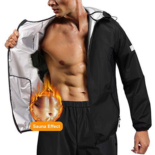 Junlan Sauna Suit for Men Sweat Jacket Sauna Pants Gym Workout Sweat Suits (Black Tops Only, Medium)
