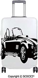 SCOCICI Anti-scratch Baggage Luggage Cover Protector Silhouette Classic Sport Car Ac Cobra Roadster American Antique Engine Autosport Multi-function Travel Suitcase Cover (Cover ONLY, Suitcase NOT In