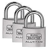 BURG-WÄCHTER Vorhangschloss, Vorhängeschloss mit Schlüssel, Trio Set, 6,5 mm Bügelstärke, massives...