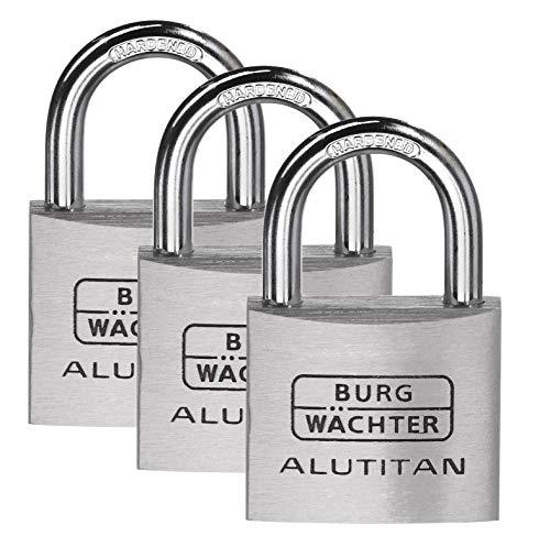 BURG-WÄCHTER Vorhängeschlösser, TRIO 770 40 SB, 3 Schlösser, 6,5 mm Bügelstärke, 4 Schlüssel