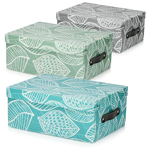 com-four® Caja de Almacenamiento 3X - Caja Decorativa con