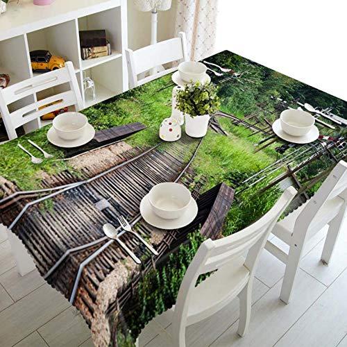 NUOMI Benutzerdefinierte 3D-Tischdecke Gartenhaus Innenausstattung Muster Wasserdicht verdicken Polyester Rechteckige Hochzeit Abendessen Tischdecke Textil, Farbe 9,40 cm x 40 cm