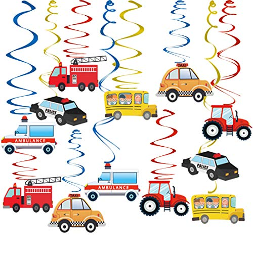 Transportation Party Hanging Swirl Decorations - 30Ct Cars Theme Happy Birthday Banner Garland for Transportation Themed Birthday Baby Shower Party Supplies