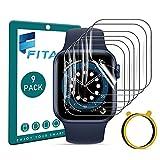 FITA [9 piezas] Protector de Pantalla Compatible con Apple Watch Series SE/6/5/4 44mm /3/2/1 42mm (No para 38/40mm), Sin Burbuja Anti-Scratch Protector Película Compatible con iWatch Series 42mm/44mm