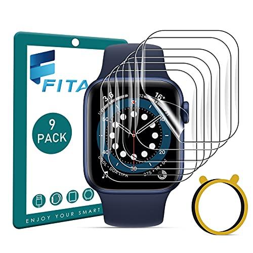 FITA [9 piezas] Protector de Pantalla Compatible con Apple Watch Series SE 6 5 4 44mm  3 2 1 42mm (No para 38 40mm), Sin Burbuja Anti-Scratch Protector Película Compatible con iWatch Series 42mm 44mm