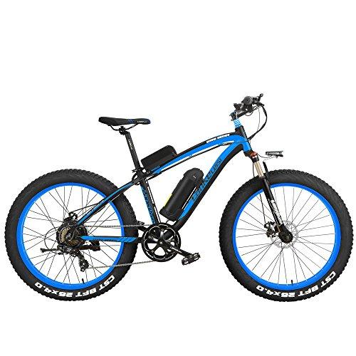 LANKELEISI XF4000 Elite 500W Potente Bicicletta elettrica, 26 Pollici Fat Bike, Forcella Ammortizzata, MTB Snow Bike, Batteria al Litio E Bici (Nero Blu, 500W 10Ah)