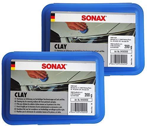 Preisjubel 2 x SONAX Clay 200g, Reinigungsknetmasse, Lackreiniger, Lackpeeling, Lack-Knete