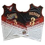 LSJ-ZZ Men's NBA Jersey Philadelphia 76ers # 3 Allen Iverson Jersey Bordado Retro, Transpirable Ropa de Entrenamiento sin Mangas Tops Chaleco para los fanáticos del Baloncesto,Negro,S