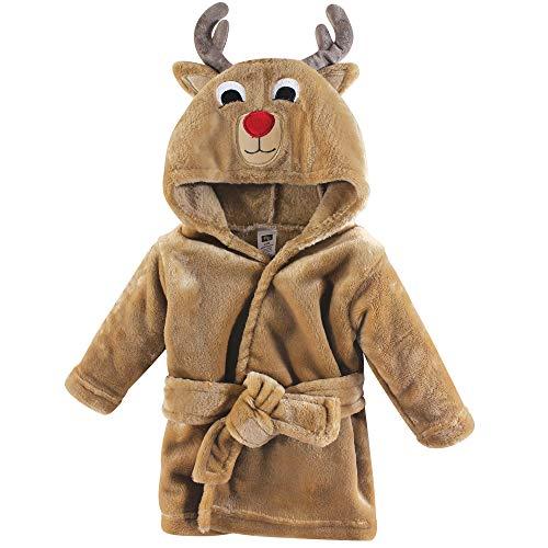 Hudson Baby Unisex Baby Plush Animal Face Robe, Boy Reindeer, One Size, 0-9 Months
