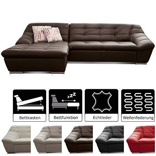 Cavadore Leder-Sofa Lucas / L-Sofa mit Schlaffunktion in Echtleder mit Steppung / Longchair links / Inkl. Bettfunktion und Bettkasten / Größe: 287 x 81 x 165 (BxHxT) / Leder braun