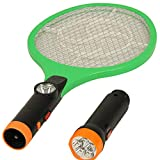 Rareeram 2 In 1 Rechargeable Mosquito/Insect Racket Bat With Detachable LED Torch - Black