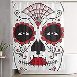 Nongmei Cortina de Ducha, Sugar Skull Disfraz de Halloween Cara de Halloween, Cortina de baño Cortina de baño Lavable Tela de poliéster con 12 Ganchos de plástico 180x180cm