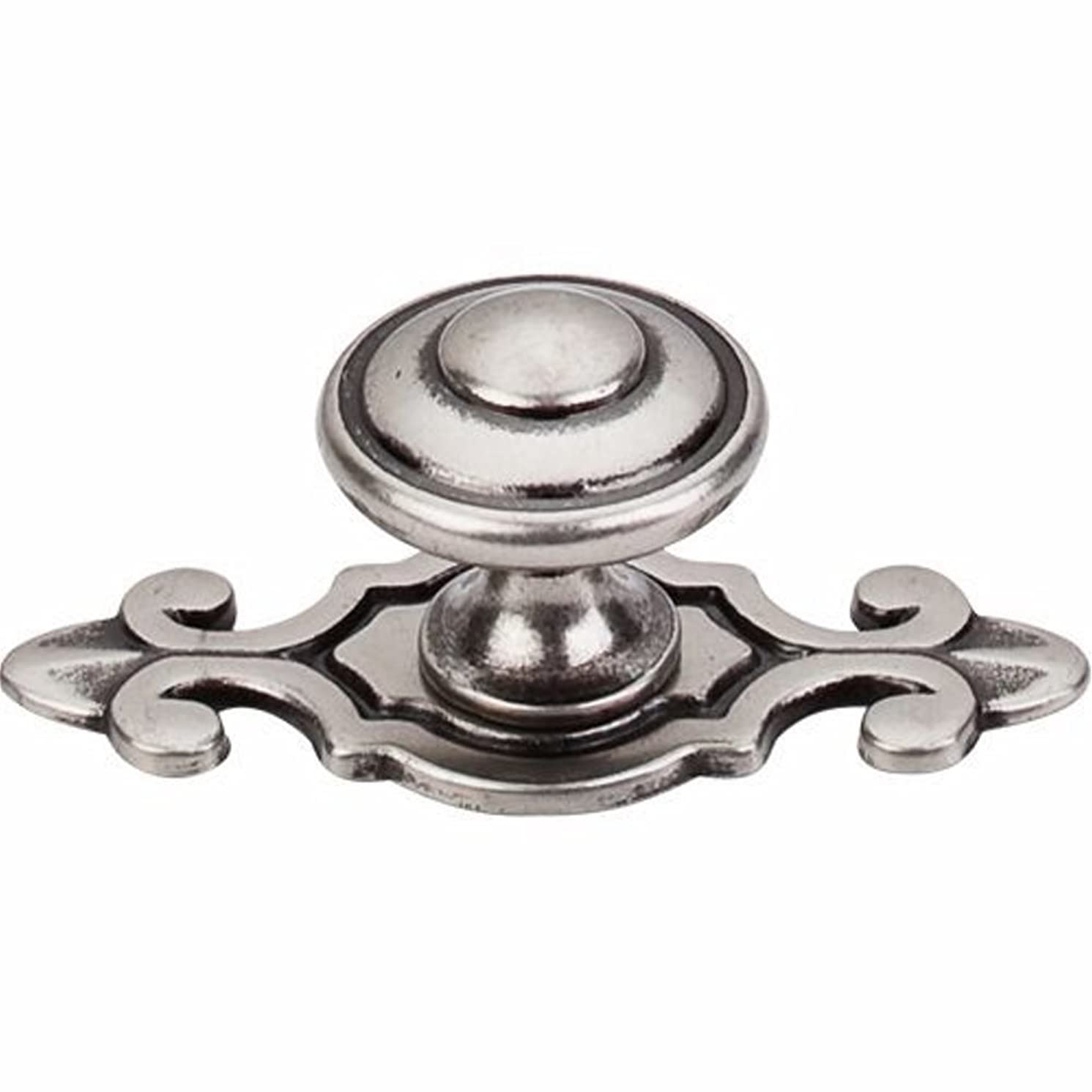 Top Knobs M464 Canterbury Knob w/Back Plate Pewter