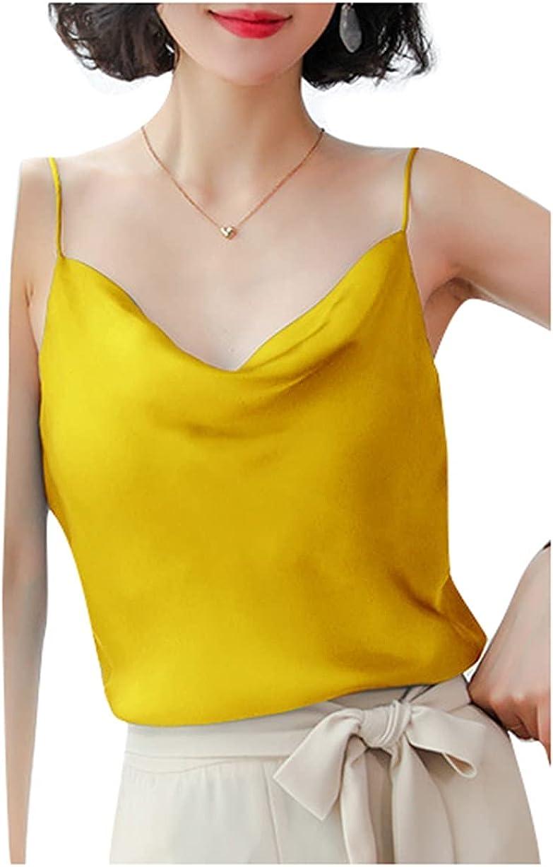 Women Halter Crop Tank Top Satin Silky Camisole Cowl Neck Cami Basic Vest Sleeveless Shirt
