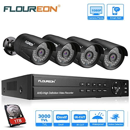 FLOUREON Système de Vidéosurveillance 8CH H.264 DVR 1080N ONVIF + 4pcs 1080P Caméra de Sécurité...