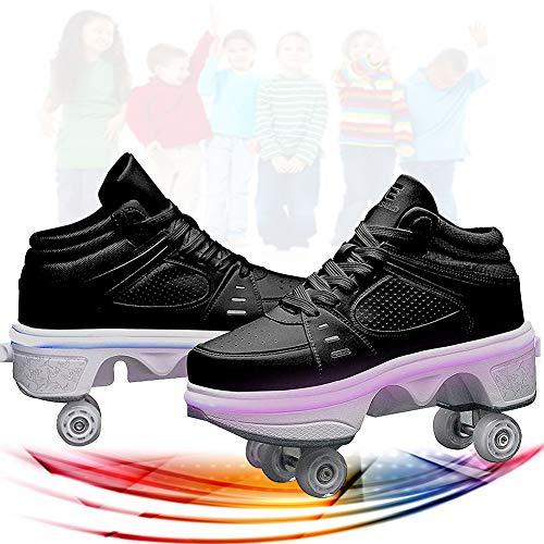 SHHAN Patines De Ruedas para Niños 2 En 1 Deformación De Doble Fila Patines De Ruedas Adultos Niños Zapatos LED De Cuatro Ruedas Patines Mujer,Black led,40