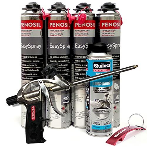 Espuma Proyectable de Poliuretano + Pistola Basic + Limpiador de Espuma Fresca - Llavero Bricolemar de Regalo (Pistola Basic + 4 Espumas + 1 Limpiador)