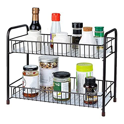 Portaspezie, portaspezie da cucina a 2 ripiani, porta condimenti da cucina per barattoli, bottiglie, ripiano per cucina, bagno, camera da letto