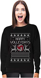 Gift for Volleyball Fans Ugly Christmas Happy Volleydays Women Sweatshirt