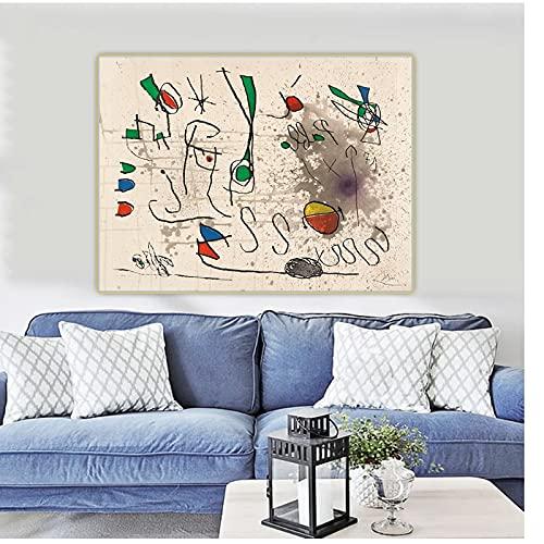 Mmpcpdd Joan Miro 《Hommage A Picasso》 Surrealismo Lienzo Arte Pintura Al Óleo Obra De Arte Imagen Fondo Decoración De La Pared Decoración para El Hogar-60X80Cmx1 Sin Marco