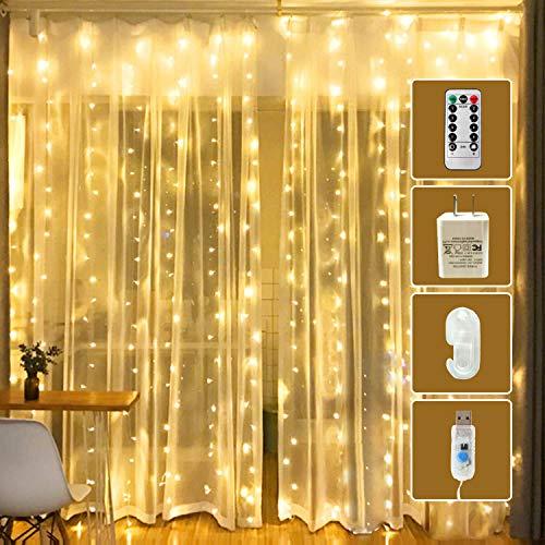 OurWarm LED Curtain Lights, 300 LED 8 Lighting Modes Fairy String Light...