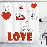 Ambesonne Valentines Day Shower Curtain, Puppy Love with Hearts and...