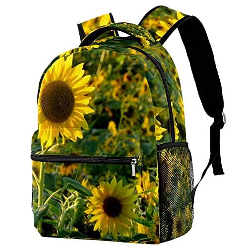 Große Coole Schultasche Dinosaurier süße Kinder langlebig personalisierte Rucksack Büchertaschen mit verstellbaren Schultergurten Sonnenblumenfeld gelb...